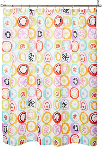 "Creative Bath Products Inc. - All That Jazz Retro 60's Starburst Fabric Polyester Durable Shower Curtain, Measures 70"" x 72"""
