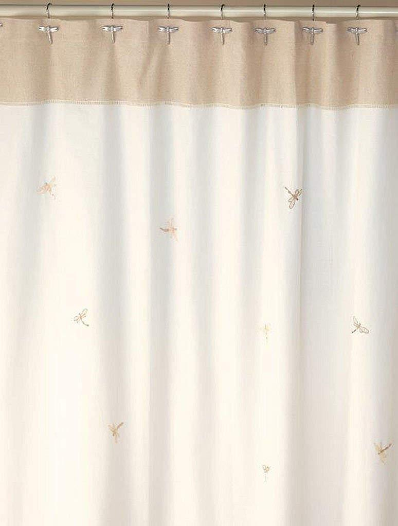 Creative Bath Products Inc. - Dragonfly Flies Embroidered Fabric 100% Cotton Durable Shower Curtain