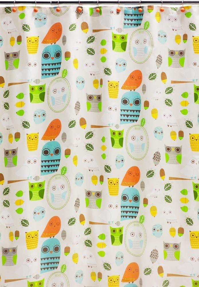 Creative Bath Products Inc. - Give A Hoot 100% Cotton Shower Curtain, Multicolored