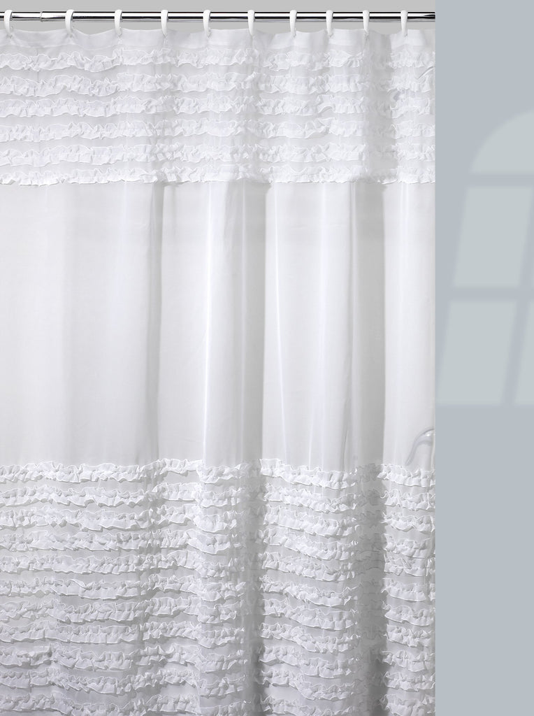 Creative Bath Products Inc. - Ruffles 100% Polyester Durable Shower Curtain, 72W x 72H Inch