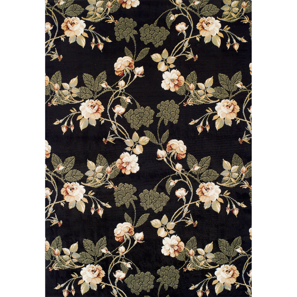 Achim Home Furnishings - Ferrera Collection Area Rug - Lily (Black)