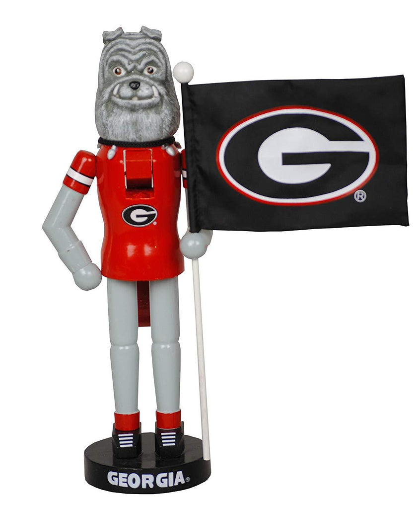 "Santa's Workshop 12"" Georgia Mascot & Flag Nutcracker (Resin, Wood, Nylon)"
