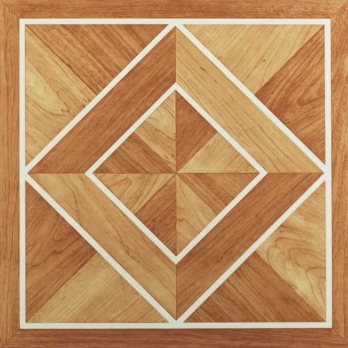 Achim Home Furnishings - Nexus White Border Classic Inlaid Parquet 12x12 Self Adhesive Vinyl Floor Tile - 20 Tiles/20 sq. ft.
