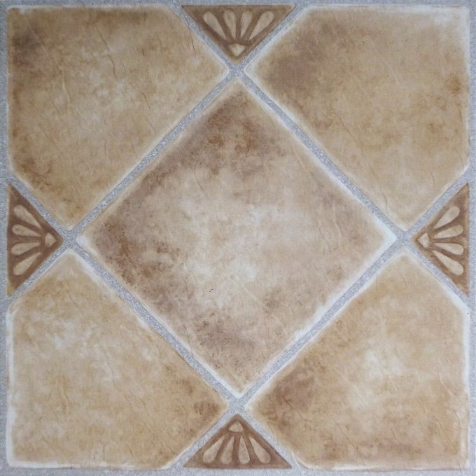 Achim Home Furnishings - Tivoli Beige Clay Diamond with Accents 12x12 Self Adhesive Vinyl Floor Tile - 45 Tiles/45 sq. ft.