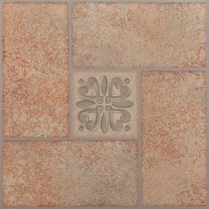 Achim Home Furnishings - Tivoli Beige Terracotta Motif Center 12x12 Self Adhesive Vinyl Floor Tile - 45 Tiles/45 sq. ft.