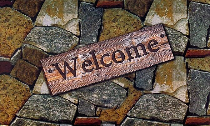 Achim Home Furnishings - Welcome Quarry Stones Outdoor Rubber Entrance Mat 18 in. x 30 in.