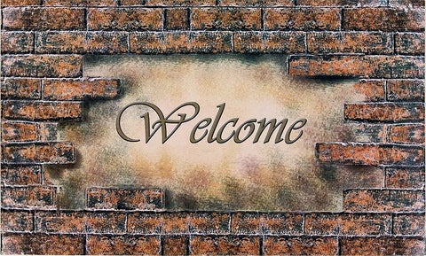 Achim Home Furnishings - Welcome Bricks Outdoor Rubber Entrance Mat 18 in. x 30 in.