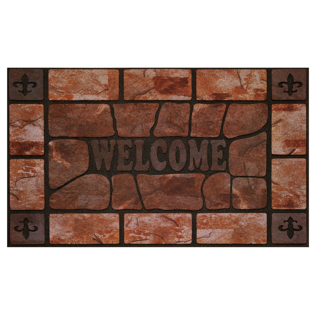 Achim Home Furnishings - Raised Rubber Mat Clay Stone 18 x 30 - Inches - Beige