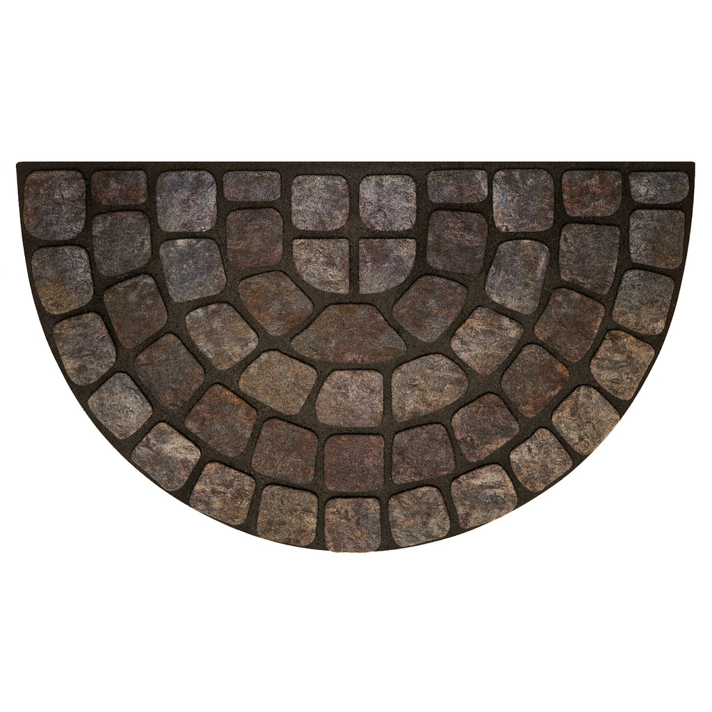 Achim Home Furnishings - Raised Rubber Mat Grey Stone Slice 18 x 30 - Inches - Grey