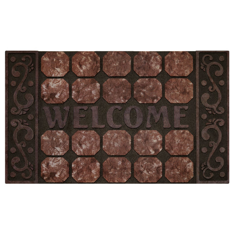 Achim Home Furnishings - Raised Rubber Mat Octagon Squares 18 x 30 - Inches - Beige