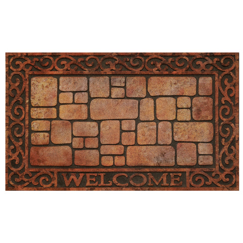 Achim Home Furnishings - Raised Rubber Mat Paver Scroll 18 x 30 - Inches - Beige