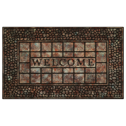 Achim Home Furnishings - Raised Rubber Mat Pebble Squares 18 x 30 - Inches - Beige/ Grey