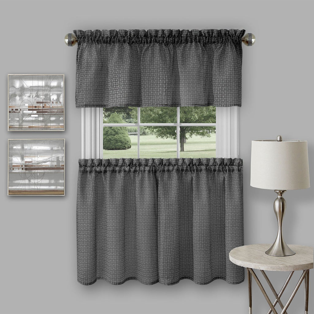 "Achim Home Furnishings - Richmond Window Kitchen Curtain Tier Pair and Valance Set - 58"" x  24""/58"" x 14"" - Black"