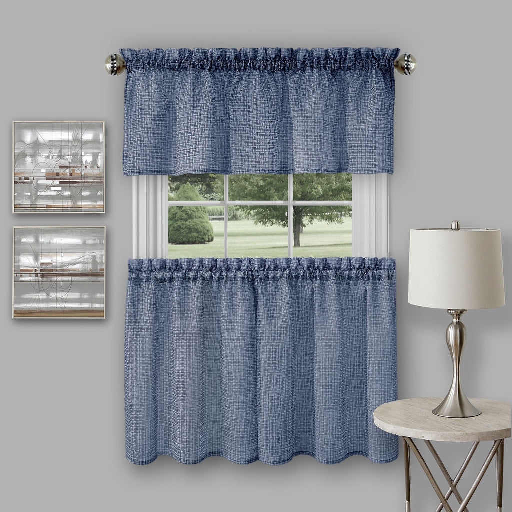 "Achim Home Furnishings - Richmond Window Kitchen Curtain Tier Pair and Valance Set - 58"" x  36""/58"" x 14"" - Navy"