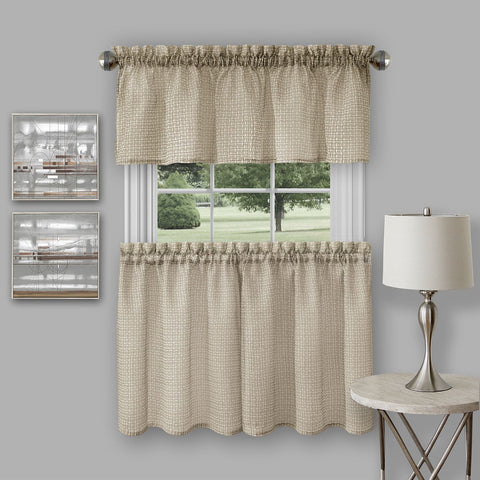"Achim Home Furnishings - Richmond Window Kitchen Curtain Tier Pair and Valance Set - 58"" x  36""/58"" x 14"" - Tan"