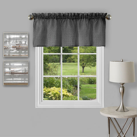 "Achim Home Furnishings - Richmond Window Curtain Valance - 58"" x 14"" - Black"