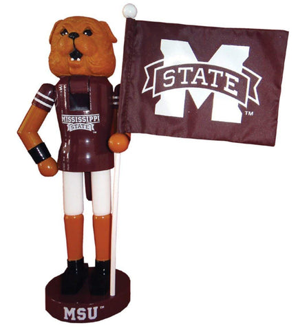 "Santa's Workshop 12"" Mississippi St Mascot & Flag Nutcracker (Resin & Wood)"