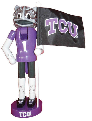 "Santa's Workshop 12"" TCU Mascot & Flag Nutcracker (Resin, Wood, & Nylon)"