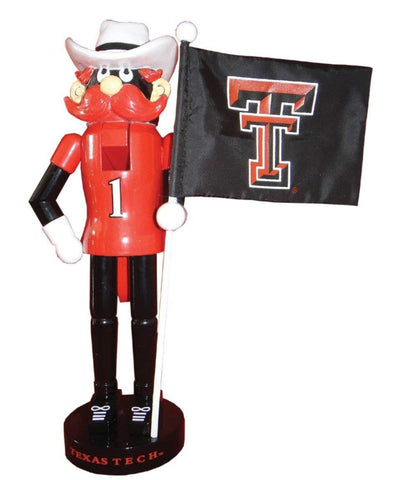 "Santa's Workshop 12"" Texas Tech Mascot & Flag Nutcracker (Resin, Wood, & Nylon)"
