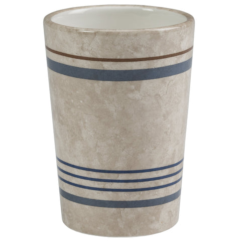 Elegant Bath - Ceramic Bathroom Tumbler, Ticking Stripe Design