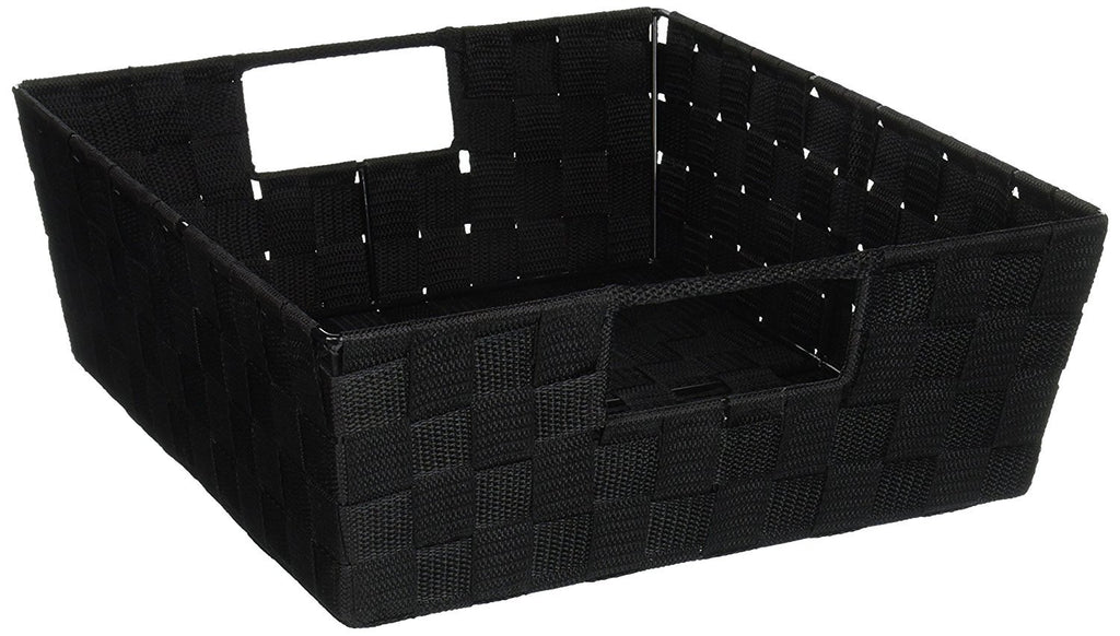 naturally home - Durable Closet Storage/Organization Unit Woven Strap Shelf 15 x 13 x 5 Inches (Black)