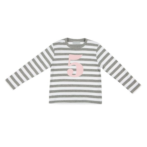 Grey Marl & White Breton Striped Numbered T Shirt (Mallow Pink)