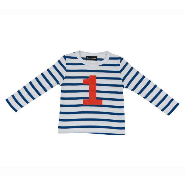 French Blue & White Breton Striped Numbered T Shirt