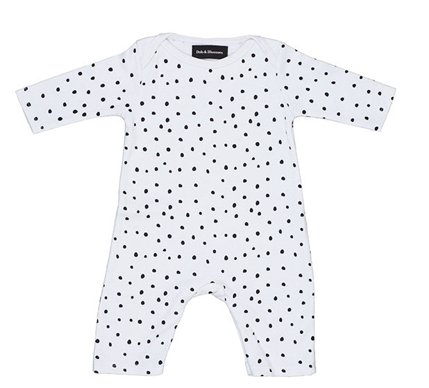 White & Black Spot Print All-in-One