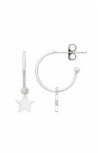 Load image into Gallery viewer, Star Drop Hoop Earring - Silver