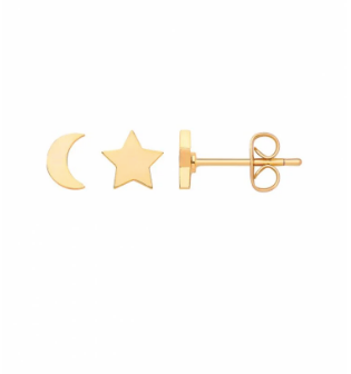 Mixed Sun and Moon Studs - Gold