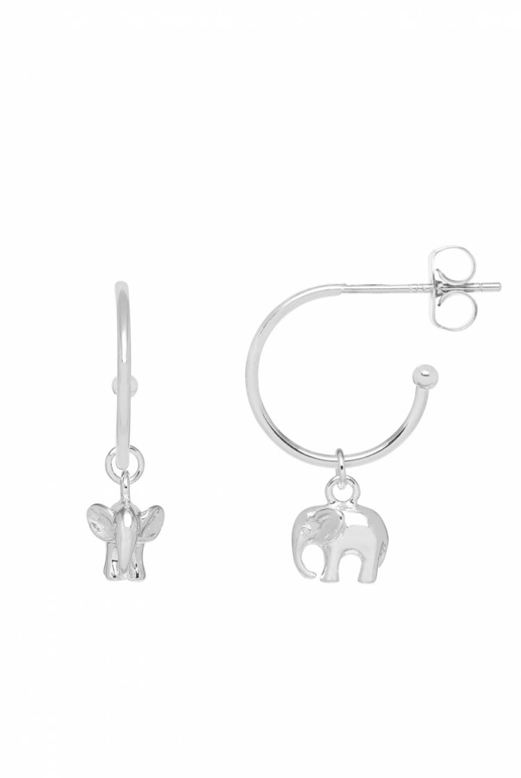 Elephant Drop Hoop Earring - Silver