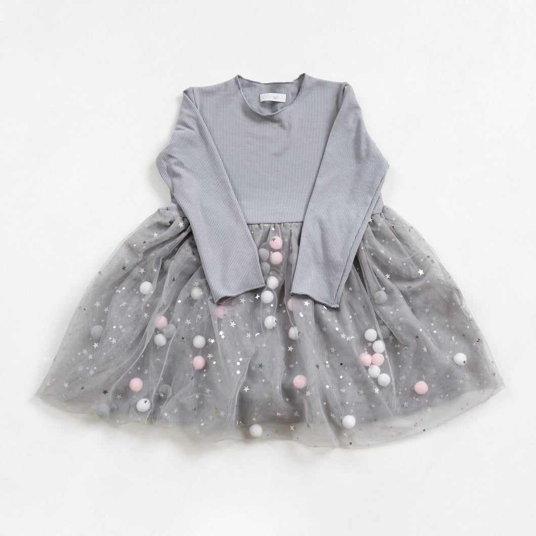 Grey Pom Pom Dress