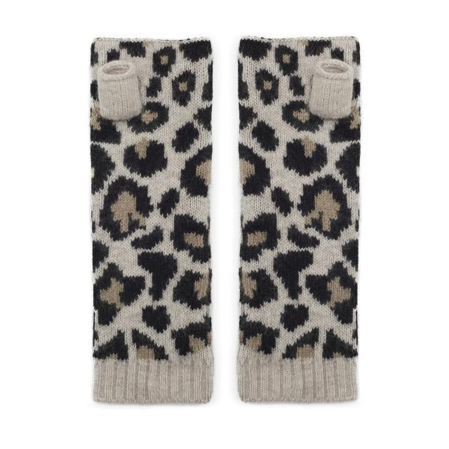 Cashmere Leopard Wrist Warmers - Cream/Black