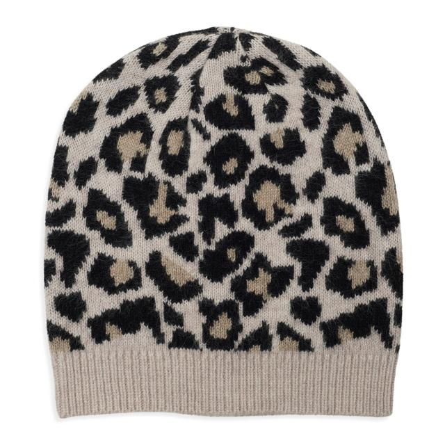 Leopard Knitted Beanie - Black/Camel