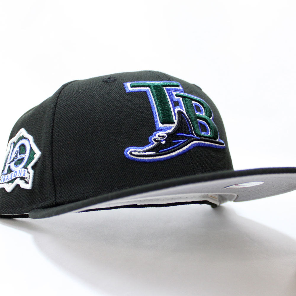 TAMPA BAY RAYS 10 SEASONS PATCH NEW ERA 5950 FITTED CAP HAT gray UNDERVISOR