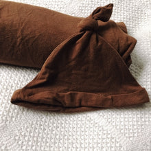 Load image into Gallery viewer, Swaddle Blanket & Knotted Beanie Pecan