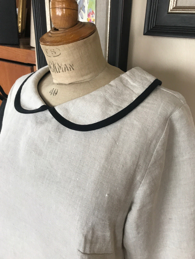 "Limited edition ""French Artist Blouse"" by Vanessa Rothe Design Natural Linen + Black piping M/L - Only 3 Available!"