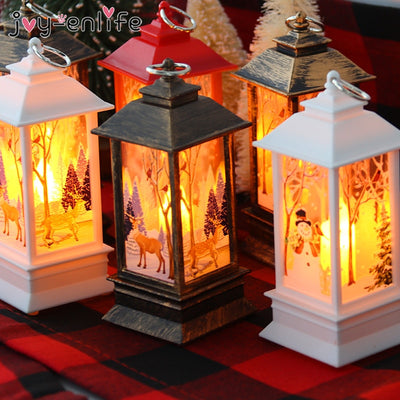 Christmas Decorations For Home Lantern Led Candle Tea light Candles Xmas Tree Ornaments Santa Claus Elk Lamp Kerst New Year Gift