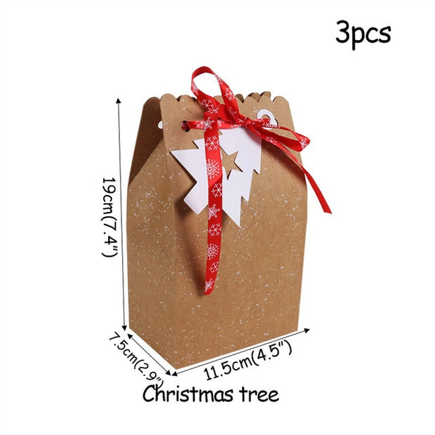 WEIGAO Merry Christmas Candy Box Bag Christmas Santa Snowman Gift Box Paper Box Gift Bag Container Supplies Navidad Kerst 2019
