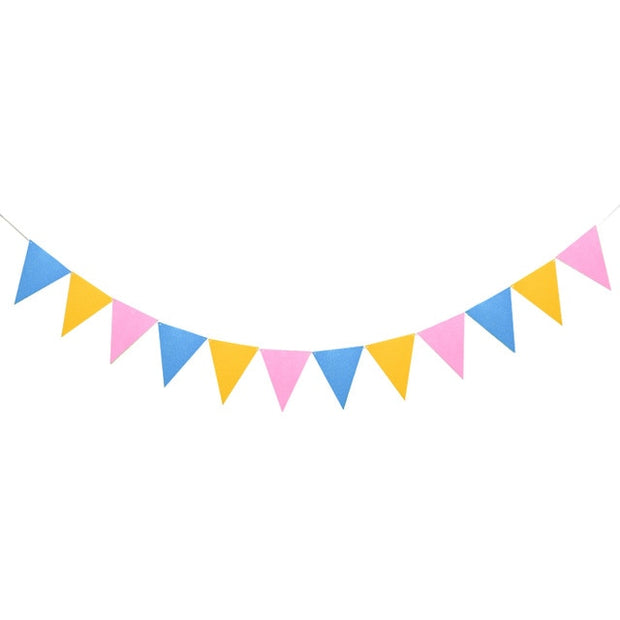 12 Flags 17cm Colorful Felt Banner Garlands Birthday Bunting Pennant Baby Shower Wedding Garland Flags Party Decoration Supplies