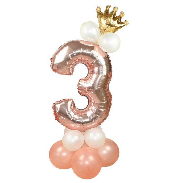 Rose Gold Number Foil Balloons Happy Birthday Balloons Baby Shower Kids Birthday Party Decorations Number Balloons