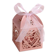 10Pcs/set Love Heart Laser Cut Hollow Carriage Favors Gifts Candy Boxes With Ribbon Baby Shower Wedding Party Supplies