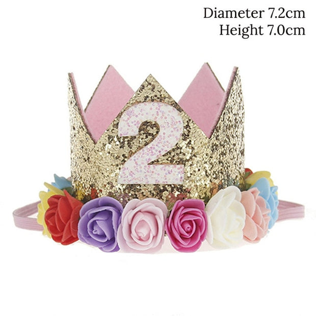 WEIGAO 1pcs 1 2 3 Birthday Caps Flower Crown