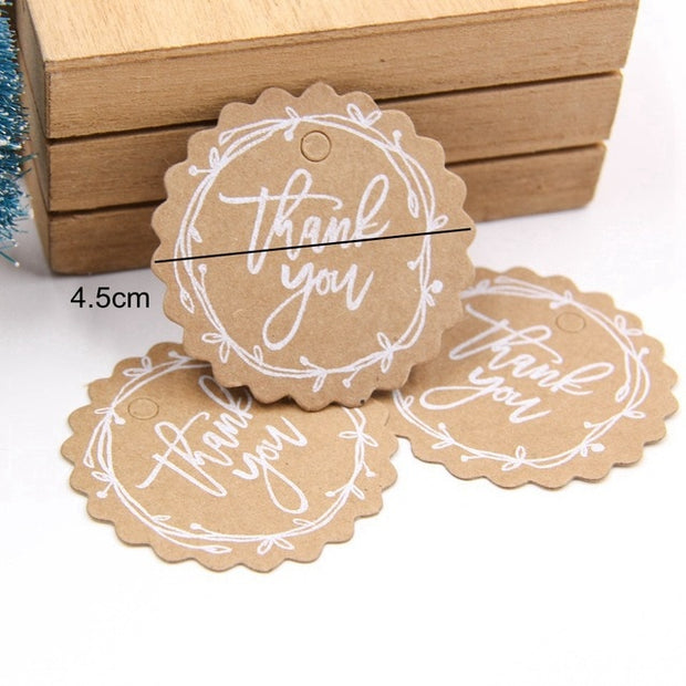 50PCS Kraft Paper Tags DIY Handmade/Thank You Multi Style Crafts Hang Tag With Rope Labels Gift Wrapping Supplies Wedding Favors