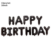 Black Gold Happy Birthday Banner Balloons