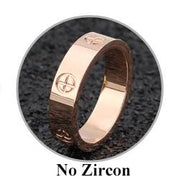 Fashion Rose Gold Stainless Steel Ring With Stone Crystal For Woman Girl For Men Couple In Wedding With Cross