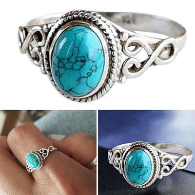 Vintage Antique Natural Stone Ring Fashion Jewelry Gift Blue turquoises Finger Ring For Women Wedding Anniversary Rings