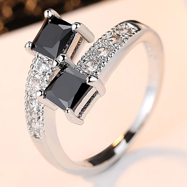 Luxury Starry Star Rings Real 10KGF White Gold Filled Rings for Women Fashion Jewelry finger ring with Genuine Black CZ