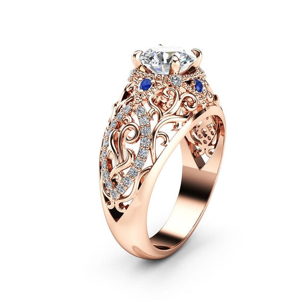Huitan Luxury Solitaire Band Ring with Hollow Flower Design Brilliant Cubic Zirconia Jewelry Cocktail Party Rings for Women
