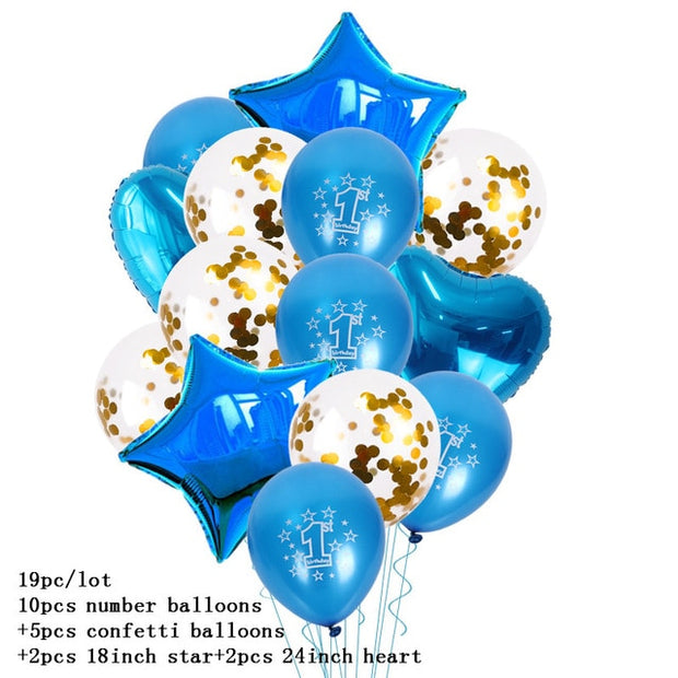 1 year Boy Birthday First Birthday Baby Shower Boy Decorations Blue Baby Party Set Birthday Party Decorations Kids Girl or Boy